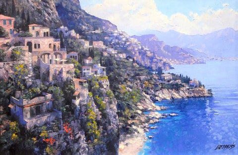The Amalfi Coast Howard Behrens Canvas Giclee Print Artist Hand Signed and Numbered
