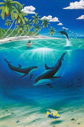 Dreaming of Paradise Wyland and Dan Mackin Lithograph Print Wyland Hand Signed and Numbered
