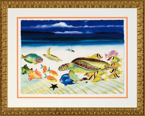 Conch Republic Left Panel Wyland Fine Art Lithograph Print Artist Hand Signed Numbered and Framed