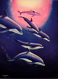 Dolphin Tribe Wyland Fine Art Cibachrome Print Artist Hand Signed Numbered and Framed