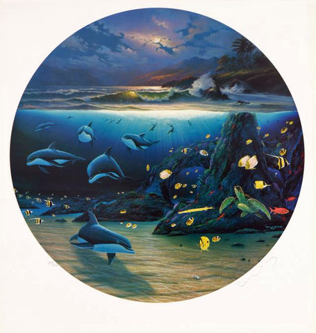 Moonlit Waters Wyland Lithograph Print Artist Hand Signed and Numbered