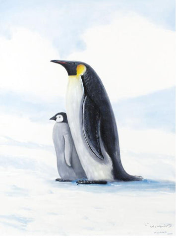 Antarctic Penguins Wyland Canvas Giclee Print Artist Hand Signed and Numbered