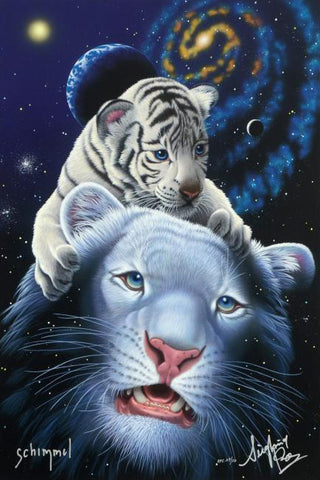 William Schimmel White Tiger Magic Fine Art Giclee Print Siegfried Roy and Artist Hand Signed and Numbered