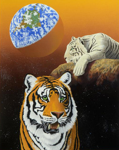 Our Home Too III Tigers William Schimmel Serigraph Print Artist Hand Signed and Numbered