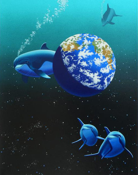 Our Home Too II Dolphins William (Schim) Schimmel Fine Art Serigraph Print Artist Hand Signed and Numbered