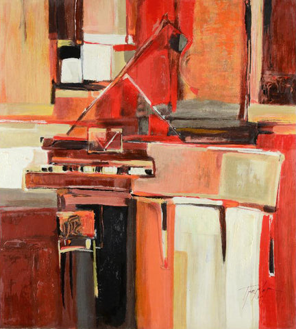 Yuri Tremler Piano in Red Fine Art Hors Commerce Serigraph Print on Wood Panel Artist Hand Signed and HC Numbered