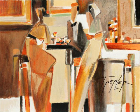 Bar Scene I Yuri Tremler Serigraph Print Artist Hand Signed and Numbered