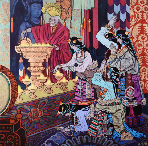 Lamp Lighting Ritual Zu Ming Ho Artist Proof Fine Art Canvas Giclee Print Artist Hand Signed and AP Numbered