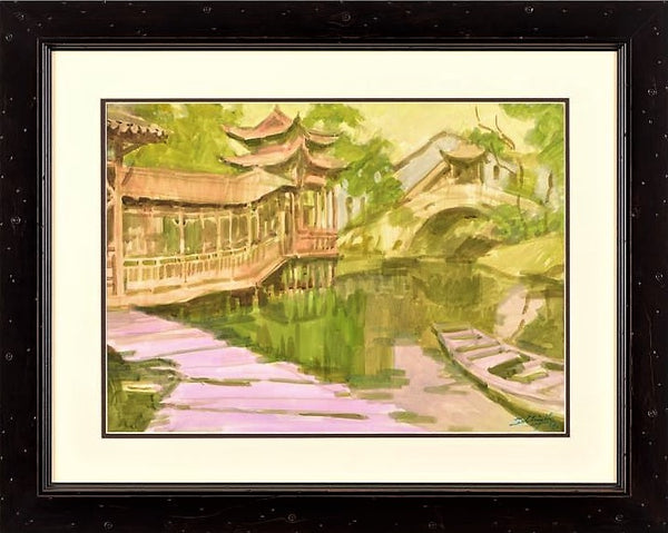 Untitled Zu Ming Ho Original Gouache Painting Artist Hand Signed and Custom Framed