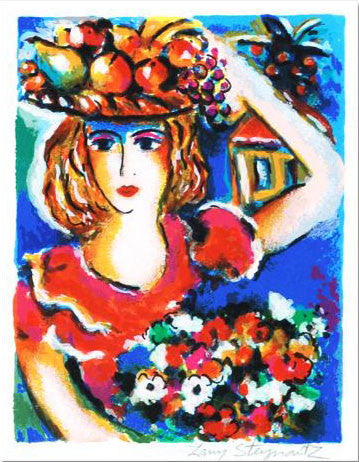 Lady with Bouquet Zamy Steynovitz Serigraph Print Artist Hand Signed and Numbered