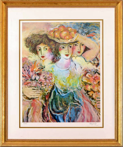 Three Women Zamy Steynovitz Fine Art Offset Lithograph Print Artist Hand Signed Numbered and Framed