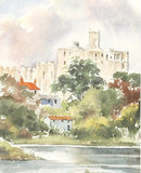 Warkworth Castle Northumberland Martin Goode Fine Art Original Watercolor Painting Artist Hand Signed Framed