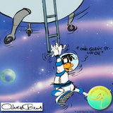 Chuck Jones Looney Landing Hand Painted Color Animation Cel Artist Hand Signed and Numbered with Full Color Background