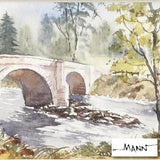 Martin Goode Potarch Bridge Fine Art Original Watercolor Painting Artist Hand Signed Framed