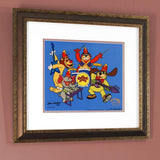 Hanna Barbera Animation Art Tra La La Banana Splits Sericel with a Full Color Lithograph Background Framed