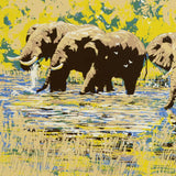 Elephant River Paul Blaine Henrie Fine Art Serigraph Print Artist Hand Signed and Numbered