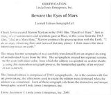 Beware the Eyes of Mars Chuck Jones Sericel Bearing Linda Jones Seal of Authenticity and Chuck Jones Stamped Signature