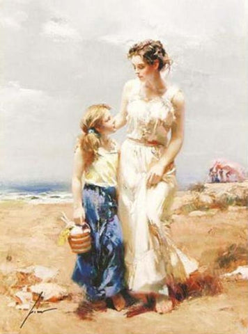 Pino Daeni By the Sea Fine Art Canvas Giclee Print Artist Hand Signed and Numbered