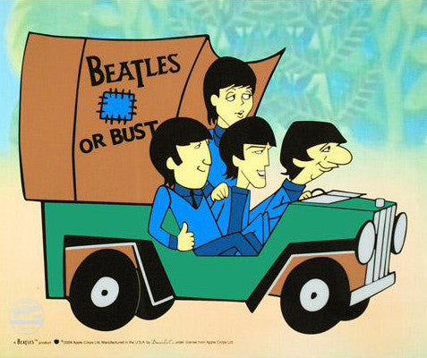Beatles Or Bust Sericel with Full Color Lithograph Background by Dennilu