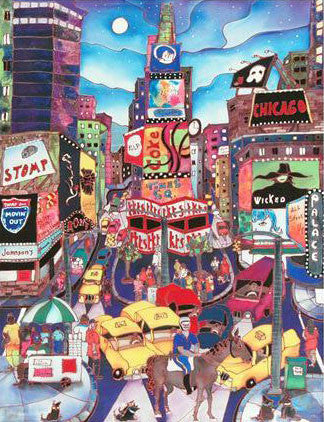 A Horse in Time Square Linnea Pergola Canvas Giclee Print Artist Hand Signed and Numbered