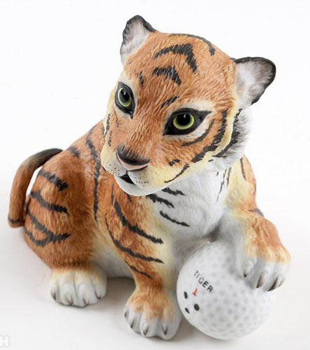 Tiger on the 18th Hole Boehm Porcelain Sculpture Tiger Woods Plate Signed