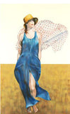 Blue on Beige Christine Rosamond Fine Art Serigraph Print Estate Seal Stamped and Numbered