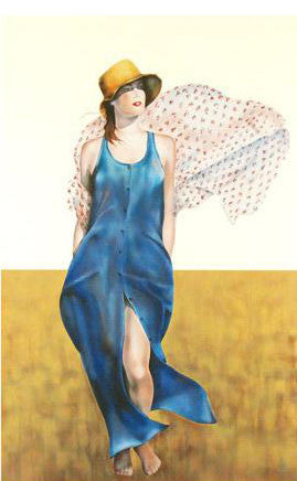Christine Rosamond Blue on Beige Fine Art Serigraph Print Estate Seal Stamped and Numbered