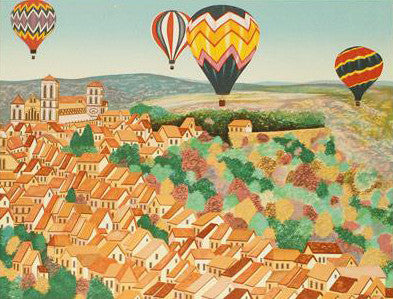 Balloons sur Vezelay Fanch Ledan Artist Proof Fine Art Lithograph Print Artist Hand Signed and AP Numbered