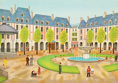 Place des Vosges Fanch Ledan Artist Proof FineArt Lithograph Print Artist Hand Signed and AP Numbered