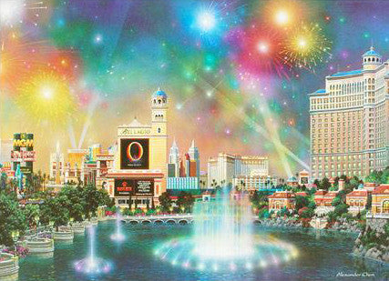 Las Vegas Evening Alexander Chen Fine Art Lithograph Print Artist Hand Signed and Numbered
