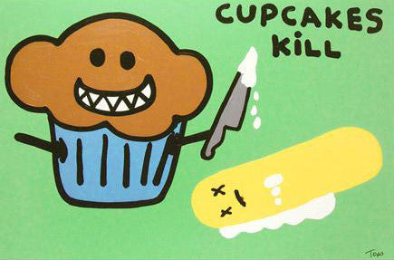 Cupcakes Kill Todd Goldman Canvas Giclee Print Artist Hand Signed and Numbered