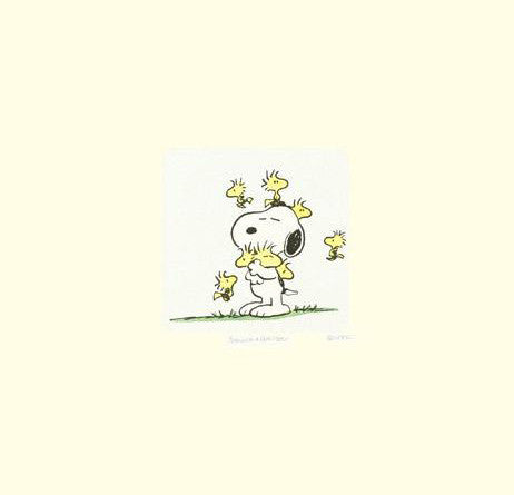 Snoopy and Woodstock Peanuts Hand Tinted Color Etching Numbered