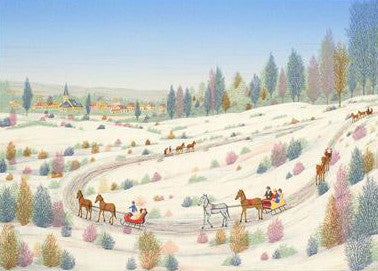 Country Sleigh Ride Fanch Ledan Artist Proof Fine Art Lithograph Print Artist Hand Signed and Numbered