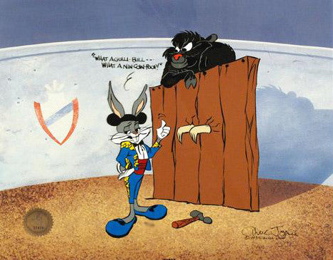 Bugs and Gulli Bull Chuck Jones Hand Painted Animation Cel Artist Hand Signed and Numbered