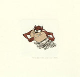 Tasmanian Devil Warner Bros Hand Tinted Color Etching Numbered