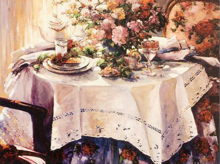 Tea and Romance Stephen Shortridge Artist Proof Canvas Lithograph Print Artist Hand Signed and AP Numbered