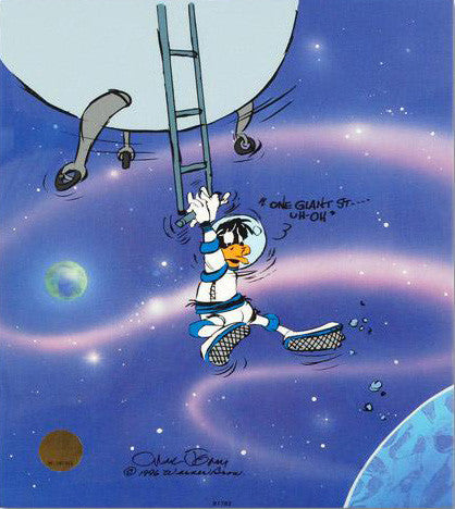 Looney Landing Chuck Jones Hand Painted Color Animation Cel Artist Hand Signed and Numbered with Full Color Background