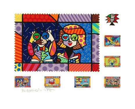Educating the World Romero Britto Fine Art Serigraph Print Artist Hand Signed and Numbered
