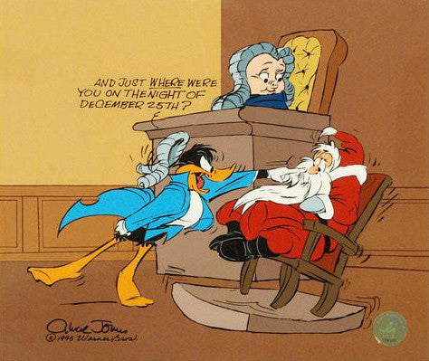 Chuck Jones Santa on Trial Hand Painted Animation Cel Artist Hand Signed and Numbered with Full Color Background