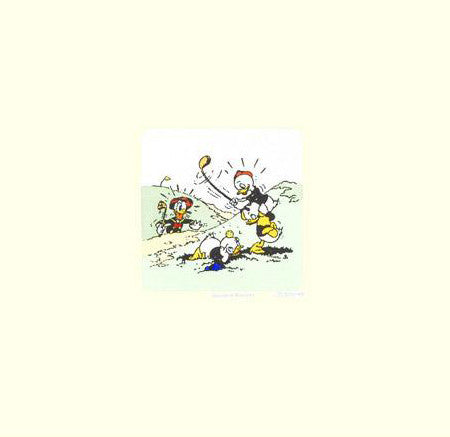 Donald Duck Golfing with Huey Dewey and Louie Disney Studios Hand Tinted Color Etching Numbered