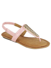 New <br/> CALLY-44KIDS <br/> Girls Flat T-strap rhinestone decor Sandal <br> $ 9.00 / Pair