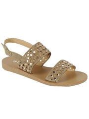 New <br/> HENNIE-43 <br /> Womens Flat Double rhinestone strap sandal <br> $ 9.50 / Pair
