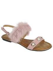 New <br/> KINDLY-13 <br /> Womens Flat Double fur strap with stone sandal <br> $ 10.00 / Pair