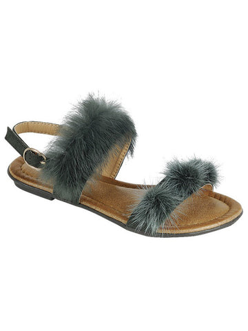 New <br/> KINDLY-14KIDS <br /> Girls Flat Double fur strap sandal <br> $ 9.50 / Pair