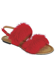 New <br/> KINDLY-15 <br /> Womens Flat Double fur strap sandal <br> $ 10.00 / Pair