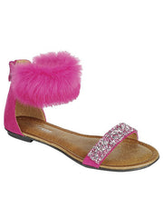 New <br/> KINDLY-5KIDS <br /> Girls Flat fur strap sandal <br> $ 9.50 / Pair