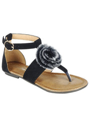 New <br/> KINDLY-7KIDS <br/> Girls Flat T-strap fur flower decor Sandal <br> $ 9.50 / Pair