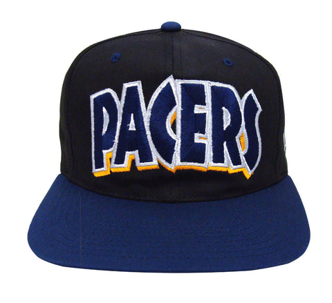 Indiana Pacers Snapback Retro Vintage Block Cap Hat Black Navy