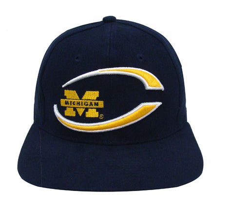 Michigan Wolverines Snapback Retro Vintage Name & Logo Cap Hat Navy