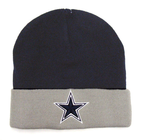 Dallas Cowboys Beanie Embroidered Knit Navy Grey